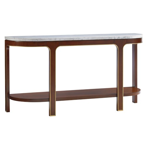 Lexington TAKE FIVE Interlude Console Table with Carrera Marble Veneer Top and Finished Back