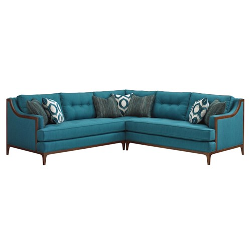 Lexington TAKE FIVE Barclay Corner Sectional Sofa with Tufting and Exposed Wood Detail