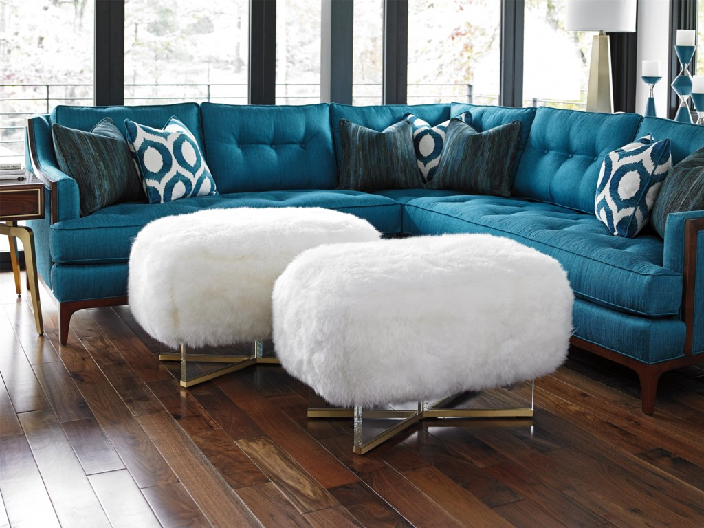 Lexington TAKE FIVEBleeker Leather Ottoman (Sheepskin)