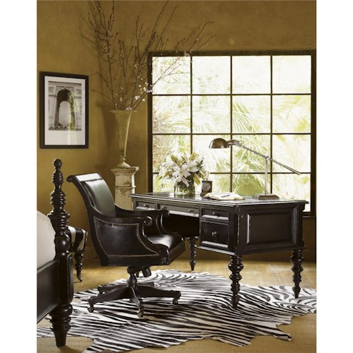 Tommy Bahama Home Kingstown Port Royal Desk with Leather Top