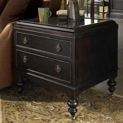 Tommy Bahama Home Kingstown Nelson End Table with Glass Top