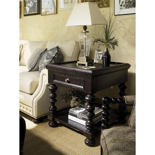 Tommy Bahama Home Kingstown Explorer End Table with Lower Shelf