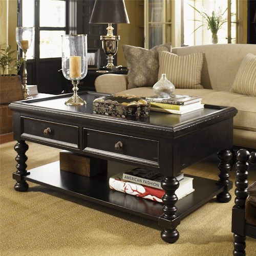 Tommy Bahama Home Kingstown Explorer Cocktail Table with Lower Shelf