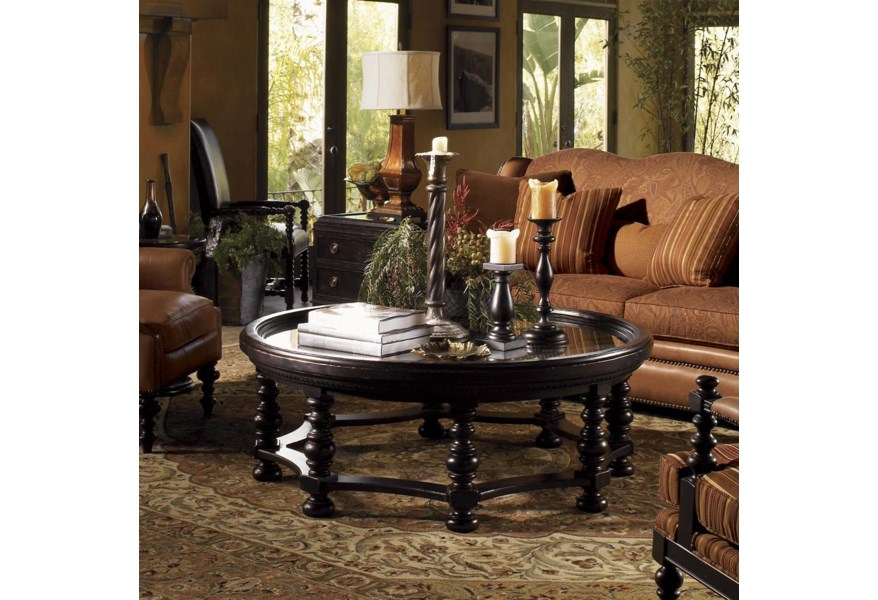 Tommy Bahama Home Kingstown 619 953 Round Plantation Cocktail Table Baer S Furniture Cocktail Coffee Tables