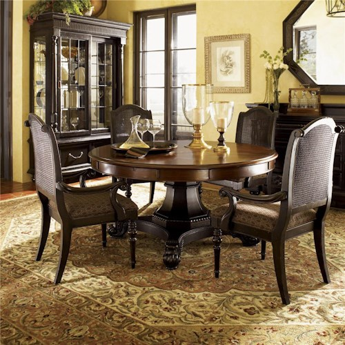 Tommy Bahama Home Kingstown Bonaire Round Dining Table with Cassiss and Tamarind Finish