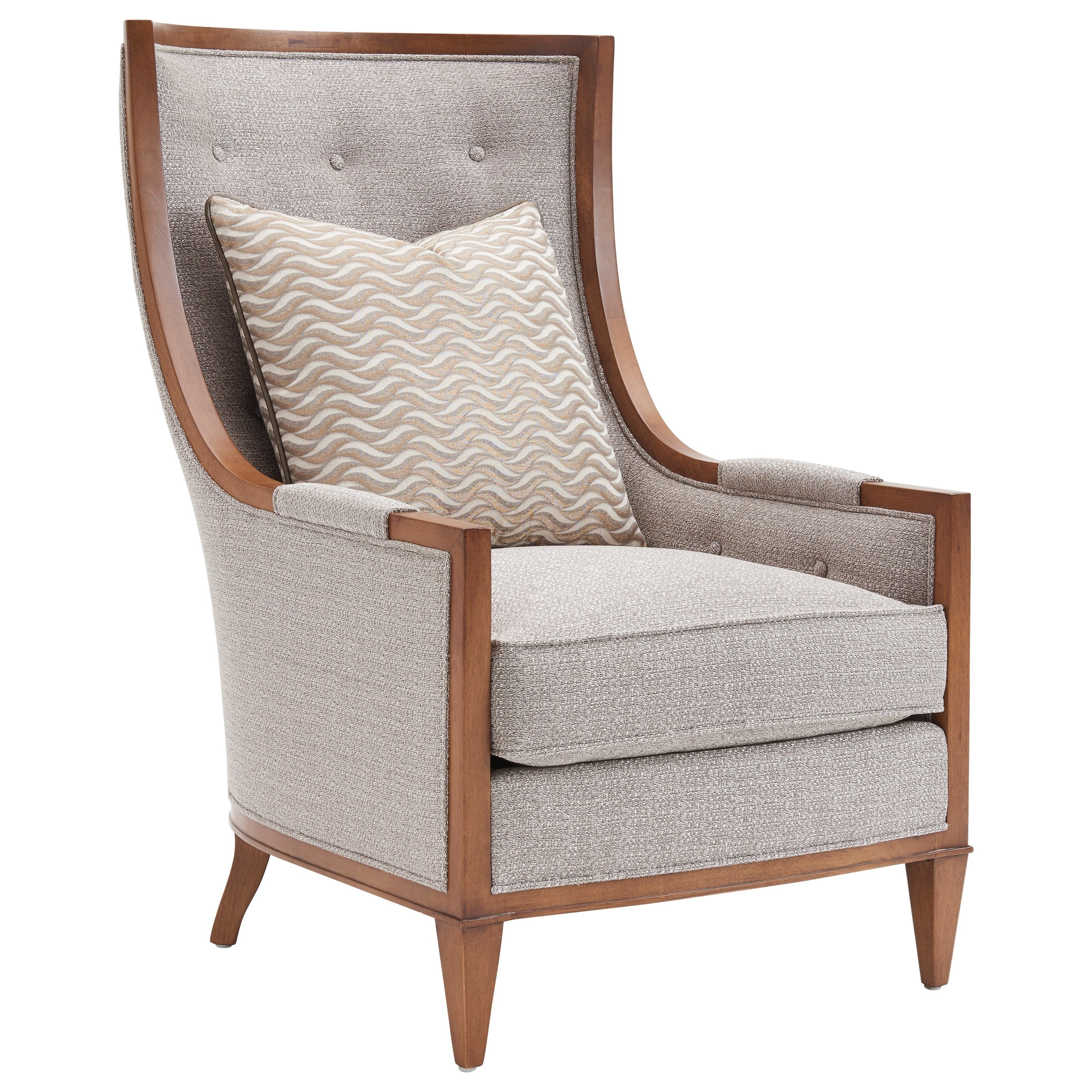 Lexington Tower Place Contemporary Greenwood Wing Chair With Button Tufting  And Exposed Wood Trim