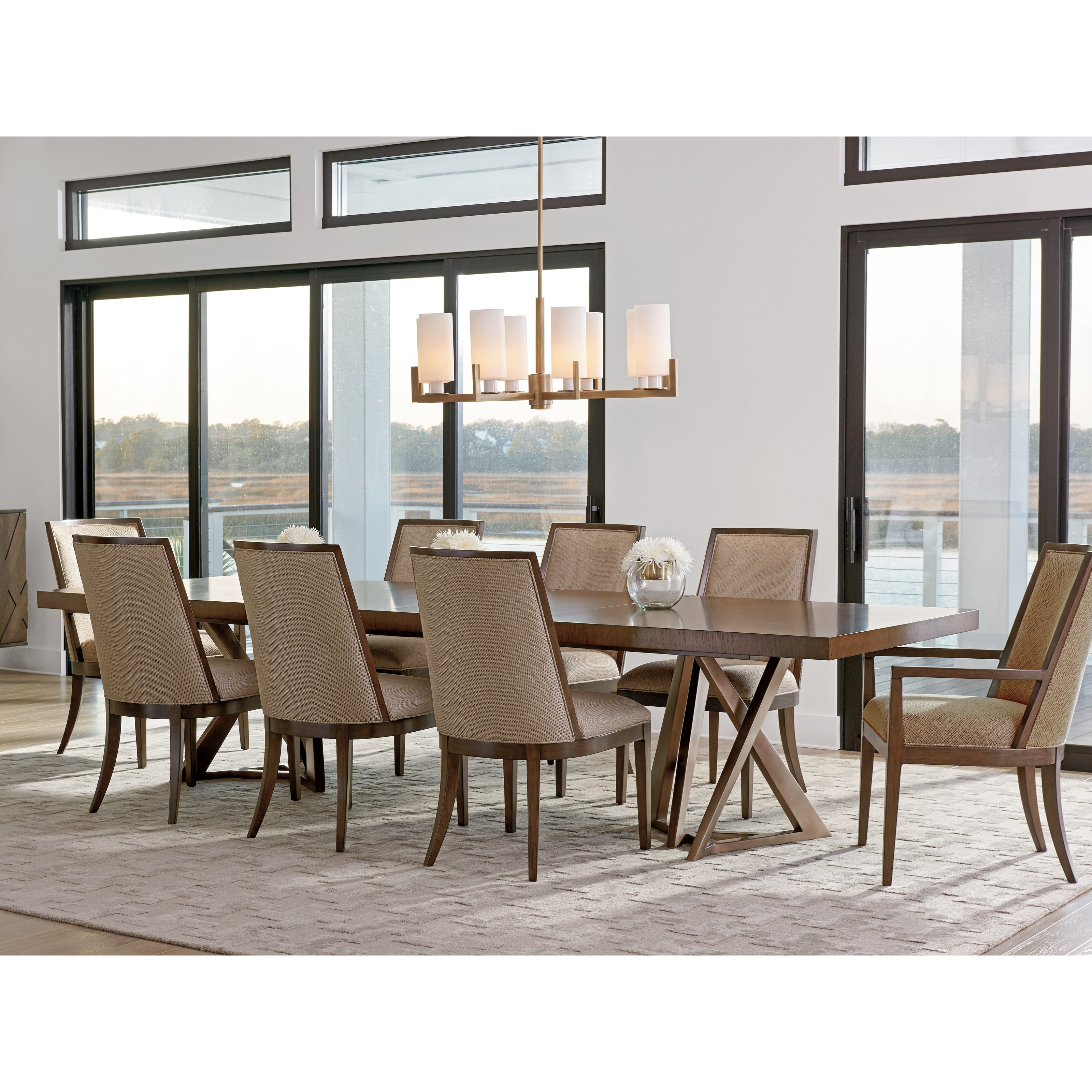 Lexington Zavala Nine Piece Dining Set With Loggia Rectangular Table
