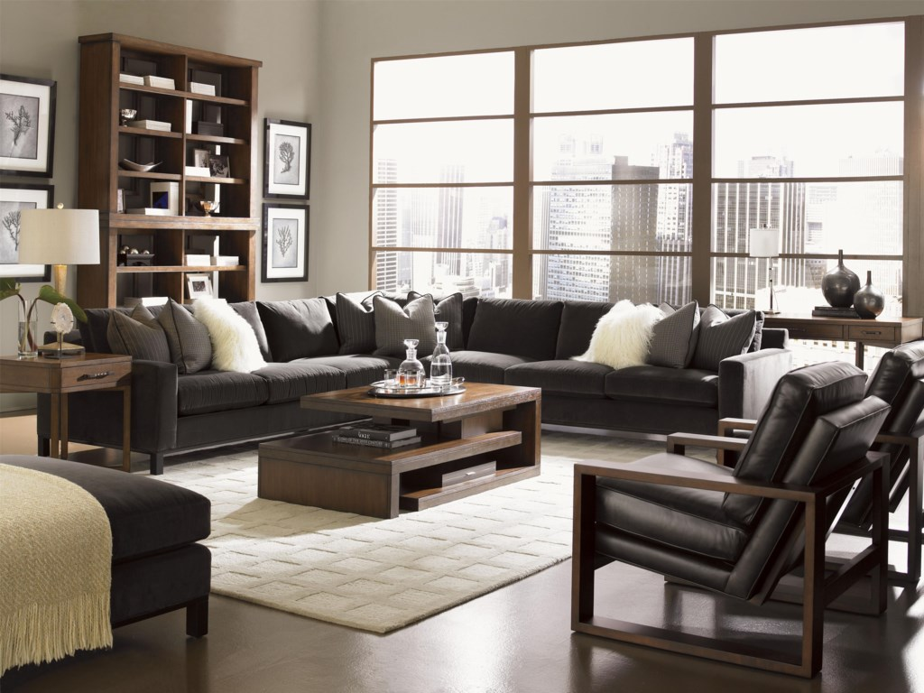Shown with Cosmo Lamp Table, Cascade Cocktail Table, Synergy Stacking Hutch, Axis Leather Chair and South Throw Pillows