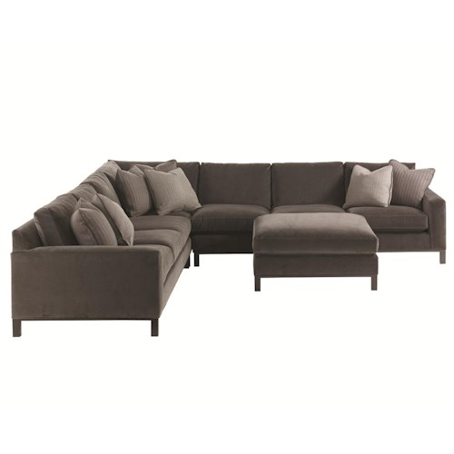 Lexington 11 South 4-Piece Upholstered Sectional & Ottoman