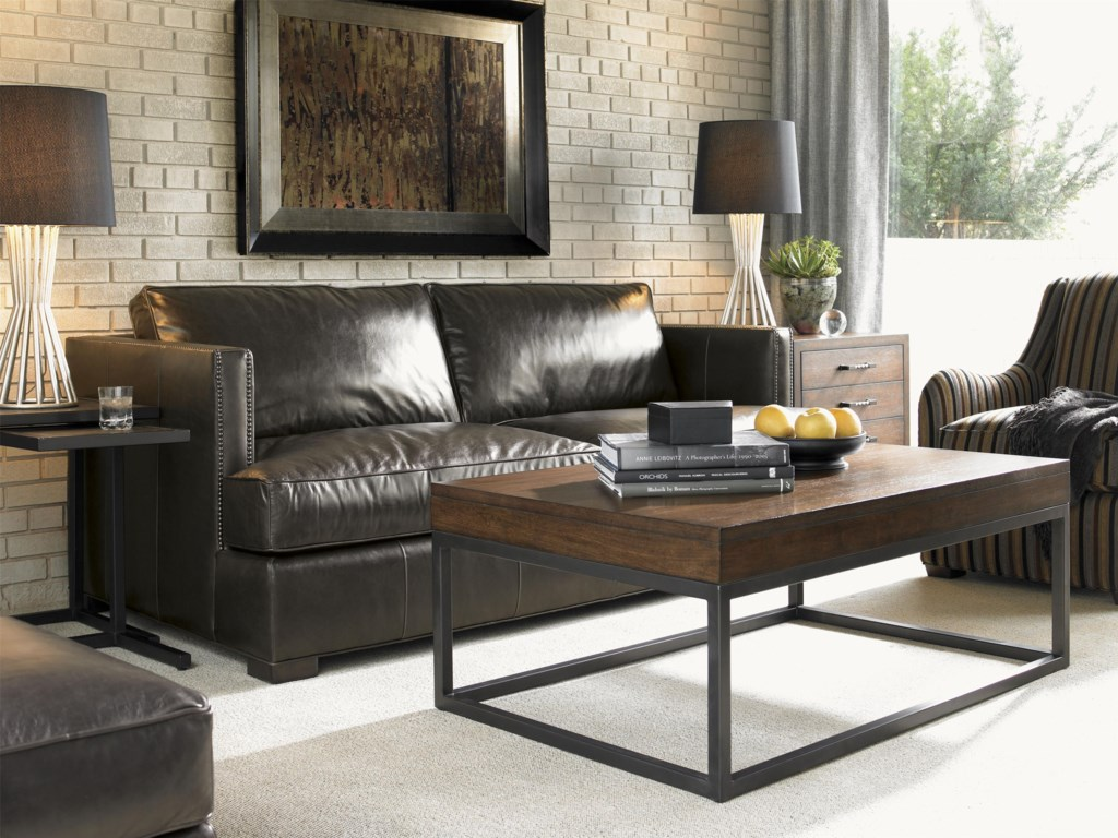 Shown with Fillmore Leather Sofa, Proximity Nesting Tables, and Moda Chairside Chest. Nexus Cocktail Table No Longer Available.