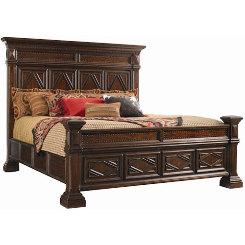 Lexington Fieldale Lodge California King-Size Pine Lakes Bed Detailed with Molding Patterns & Nailhead Trim