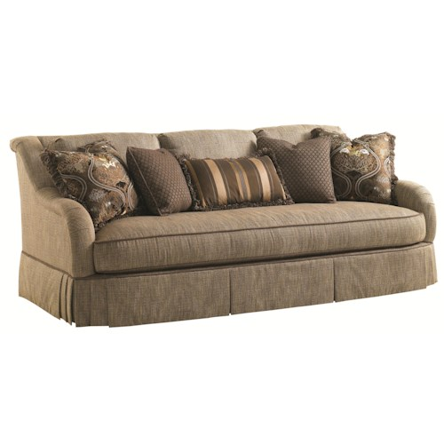 Lexington Florentino Santina Sofa with English Arms and Overlapping-Pleat Skirt
