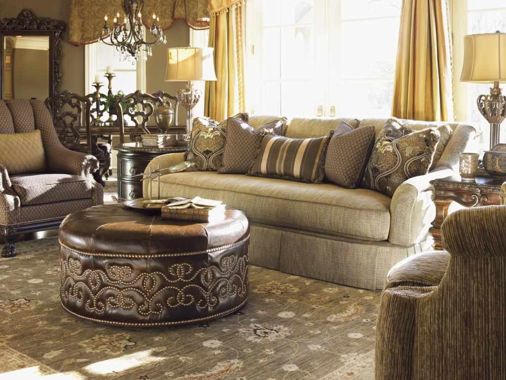 Shown with Cadorna Chair, Donatella Lamp Table, Giardini Leather Ottoman, Bianca End Table, and Feroni Swivel Chair