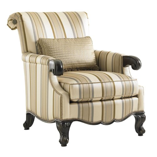 Lexington Florentino Fiorenza Chair with Scrolled Wood Arms and Queen Anne Legs
