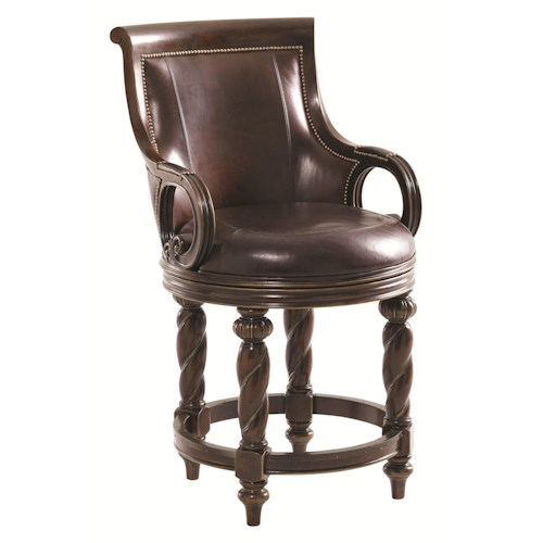 Lexington Florentino Luxury Home Leather Counter Stool with Intricate Carved Wood Detail