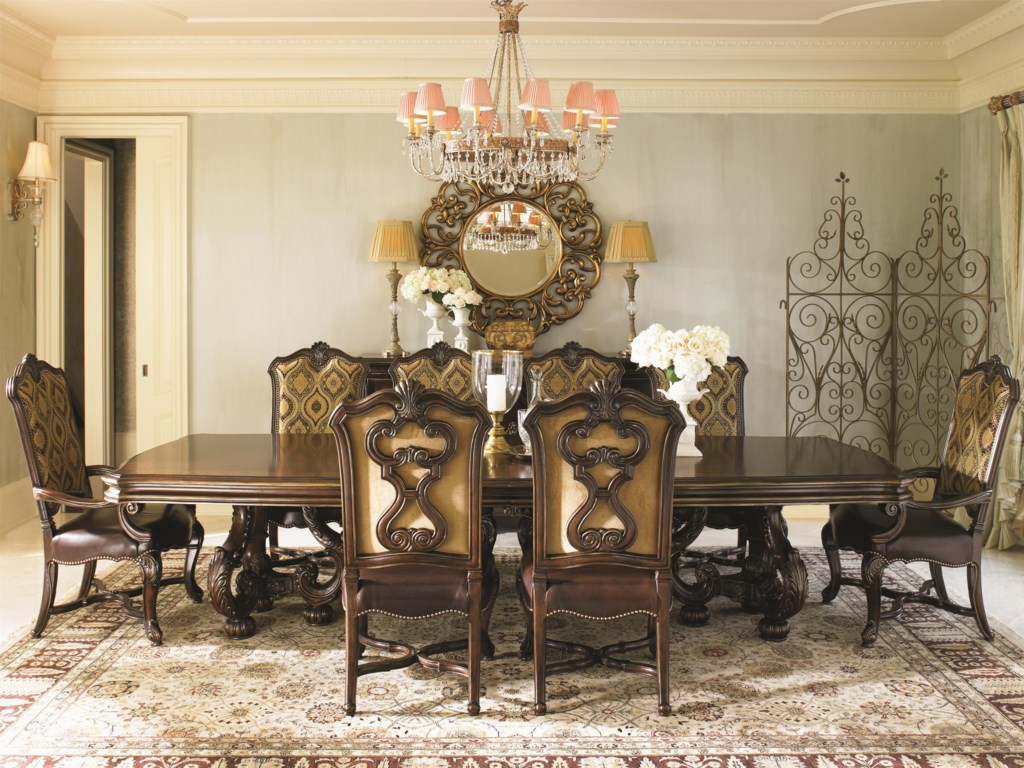 Shown with Marcella Upholstered Arm and Side Chairs and Riva Mirror