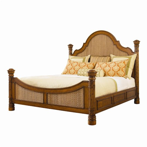 Tommy Bahama Home Island Estate King-Size Round Hill Bed with Woven Panel Inserts
