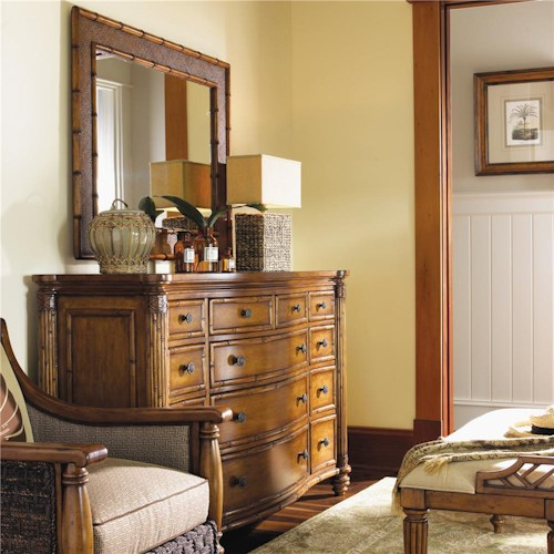 Tommy Bahama Home Island Estate Barbados Triple Dresser & Palm Grove Mirror with Bamboo Frame
