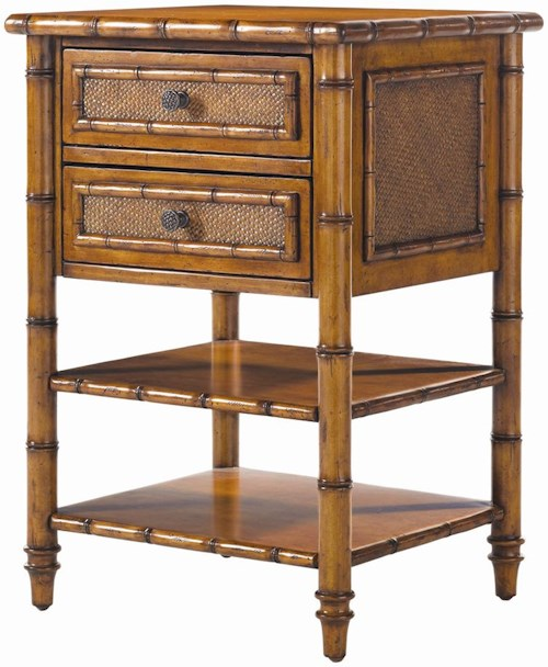 Tommy Bahama Home Island Estate Ginger Island Bedside Chest with Woven Accents