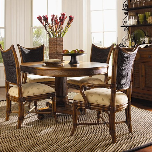 Tommy Bahama Home Island Estate 5 Piece Dining Cayman Table & Mangrove Chairs Set