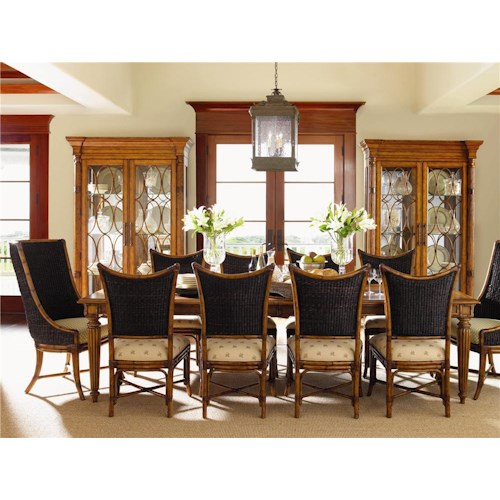 Tommy Bahama Home Island Estate 11 Piece Grenadine Rectangular Table with Cruz Bay Host and Mangrove Chairs Set