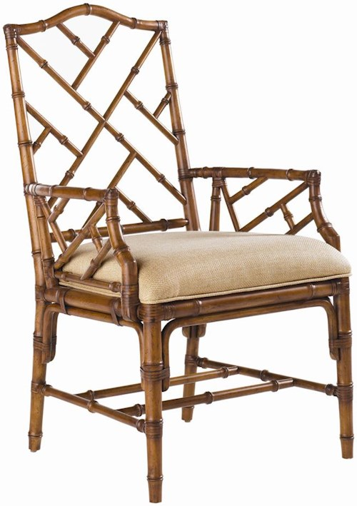 Tommy Bahama Home Island Estate <b>Quick Ship</b> Ceylon Arm Chair with Rattan Frame
