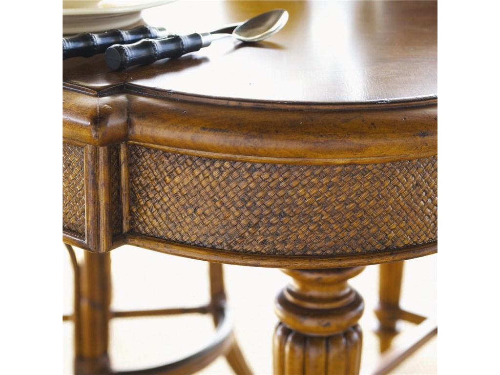 Woven Cane in Traditional X-pattern on Table Edges