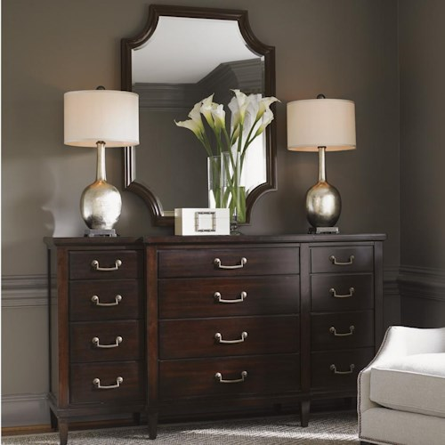 Lexington Kensington Place Transitional Baldwin Triple Dresser and Catalina Mirror Set