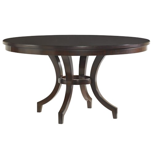 Lexington Kensington Place Transitional Beverly Glen Round Dining Table with Saber Legs