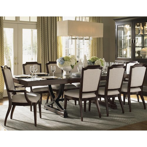 Lexington Kensington Place Eleven Piece Dining Set with Chairs Upholstered in Odessa Fabric