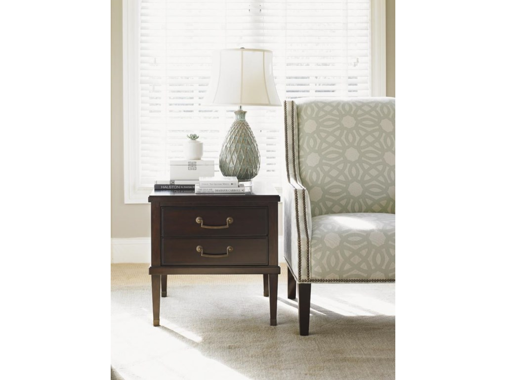 Lexington Kensington Place Transitional Chandler Two Drawer End Table With Burnished Brass Ferrules Howell Furniture End Tables