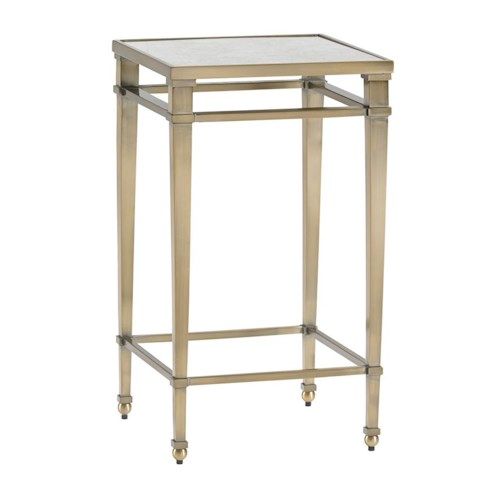Lexington Kensington Place Transitional Coville Metal Accent Tablewith Burnished Brass Finish and Antiqued Mirror Top