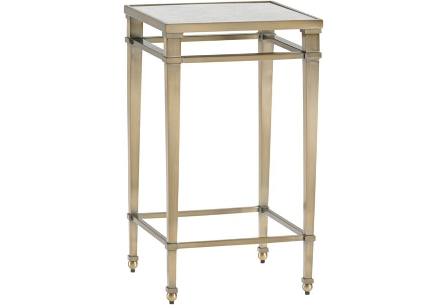 Lexington Kensington Place Transitional Coville Metal Accent Tablewith Burnished Brass Finish And Antiqued Mirror Top Belfort Furniture End Tables