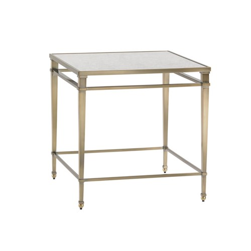 Lexington Kensington Place Transitional Maxfield Metal Lamp Table with Burnished Brass Finish and Antiqued Mirror Top