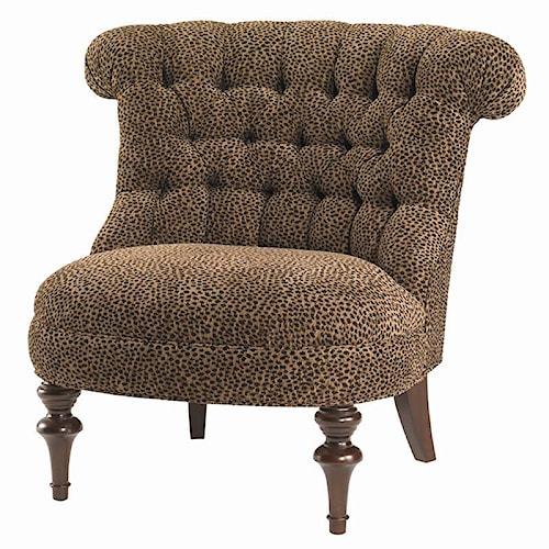 Lexington Lexington Upholstery Xavier Tufted Back Chair with Exposed Wood Legs