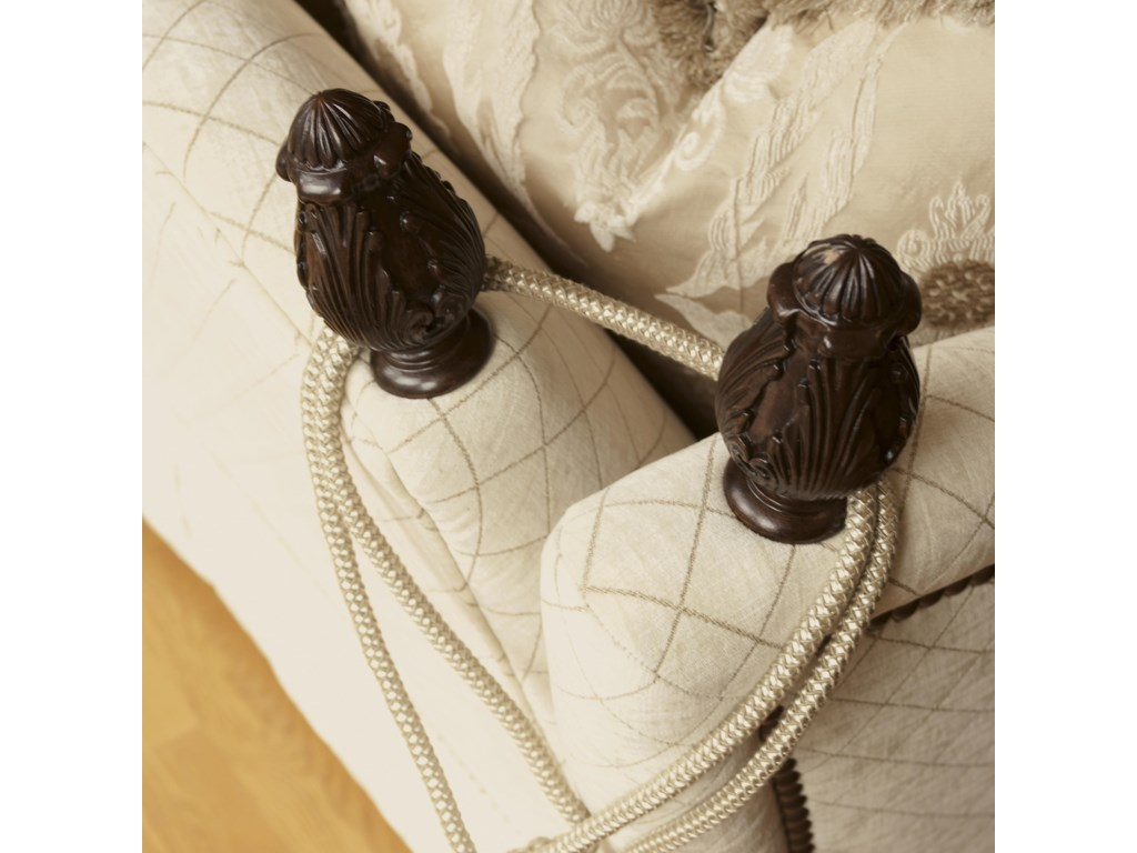 The Split Back, Carved Finials, and Decorative Rope Tassels Are Inspired by Ratchet-Style Sofa