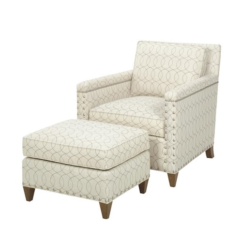 Lexington Lexington Upholstery Contemporary Chase Chair and Ottoman with Ornamental Nailheads