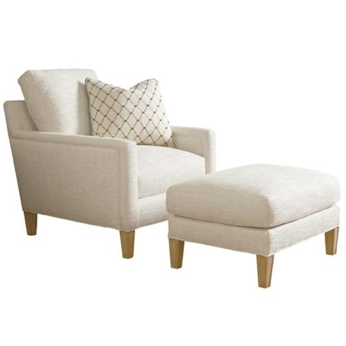 Lexington Monterey Sands Signal Hill Loose Back Chair & Semi-Attached Top Ottoman