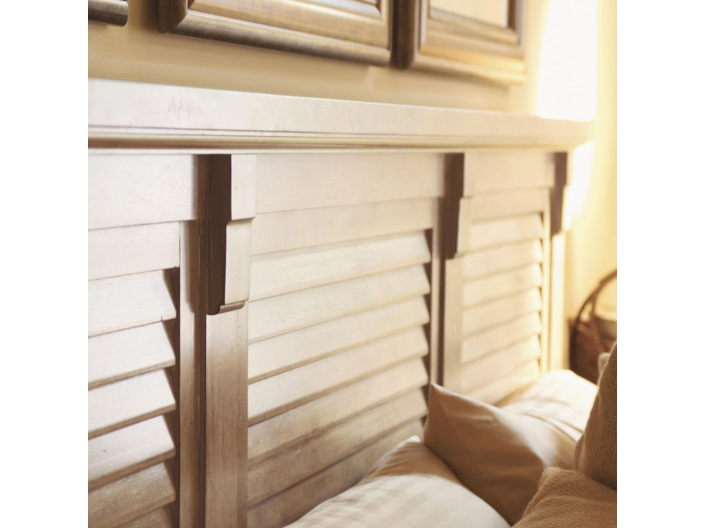 Detail of Louvered Panel Headboard with Bracket Corbels Dividing the Panels