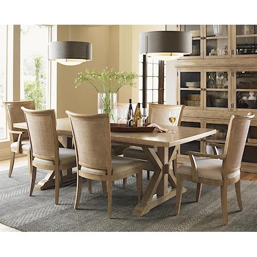 Lexington Monterey Sands Seven-Piece Walnut Creek Dining Table and Los Altos Chairs Set