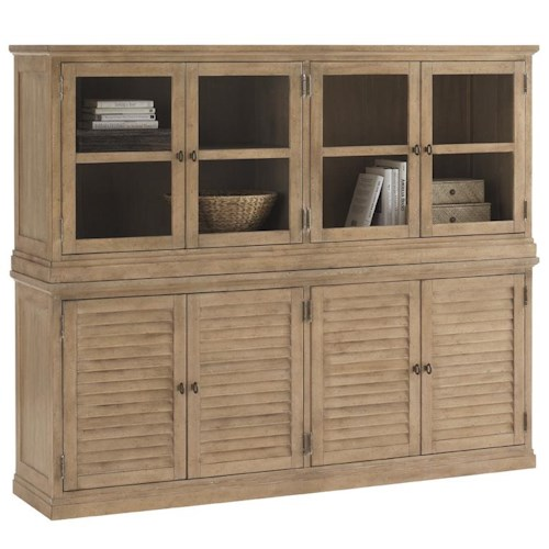 Lexington Monterey Sands Palo Alto Louvered Door Stacking Unit Base with Sausalito Glass Door Stacking Top Unit