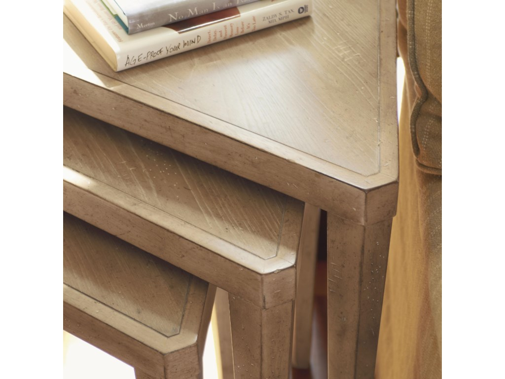 Detail of Nesting Tables with Sandy Brown Cambria Finish