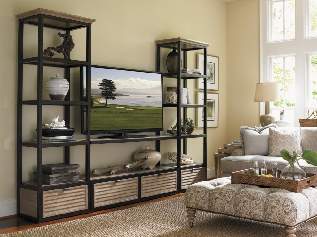 Shown as Complete Wall Unit with Camino Real Drawer Box Unit & Shelves, Victoria Cocktail Ottoman, Cupertino Triangular Nesting Tables, Colton Hall Sofa