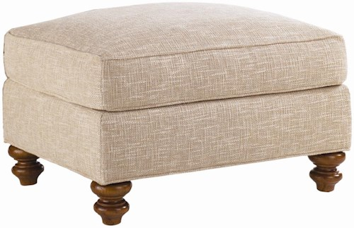 Lexington Quick Ship Upholstery Quick Ship West Shore Ottoman with Turned Feet