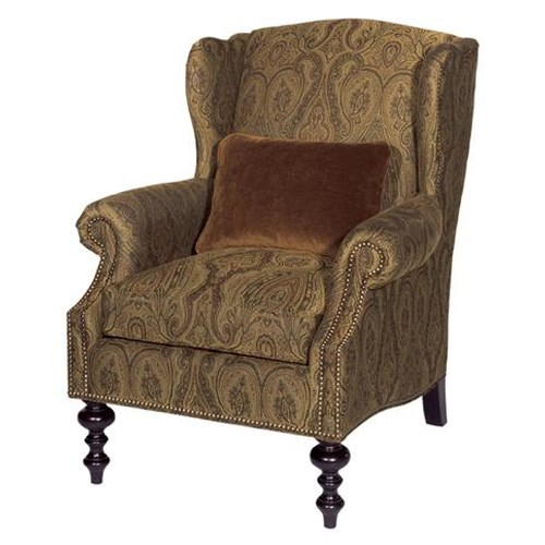 Tommy Bahama Home Kingstown Wells Wing Chair with Turned Legs