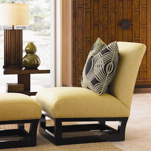 Tommy Bahama Home Ocean Club Contemporary Exposed Wood Fusion Chair & Ottoman