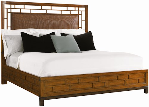 Tommy Bahama Home Ocean Club Queen-Size Paradise Point Bed with Wood Framed Woven Rattan Panel