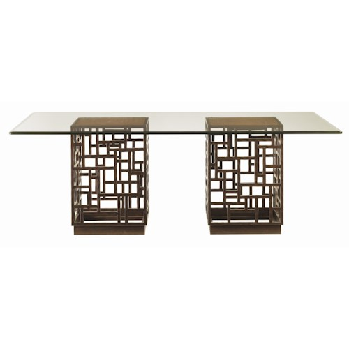 Tommy Bahama Home Ocean Club Double Pedestal South Sea Rectangular Glass Top Table