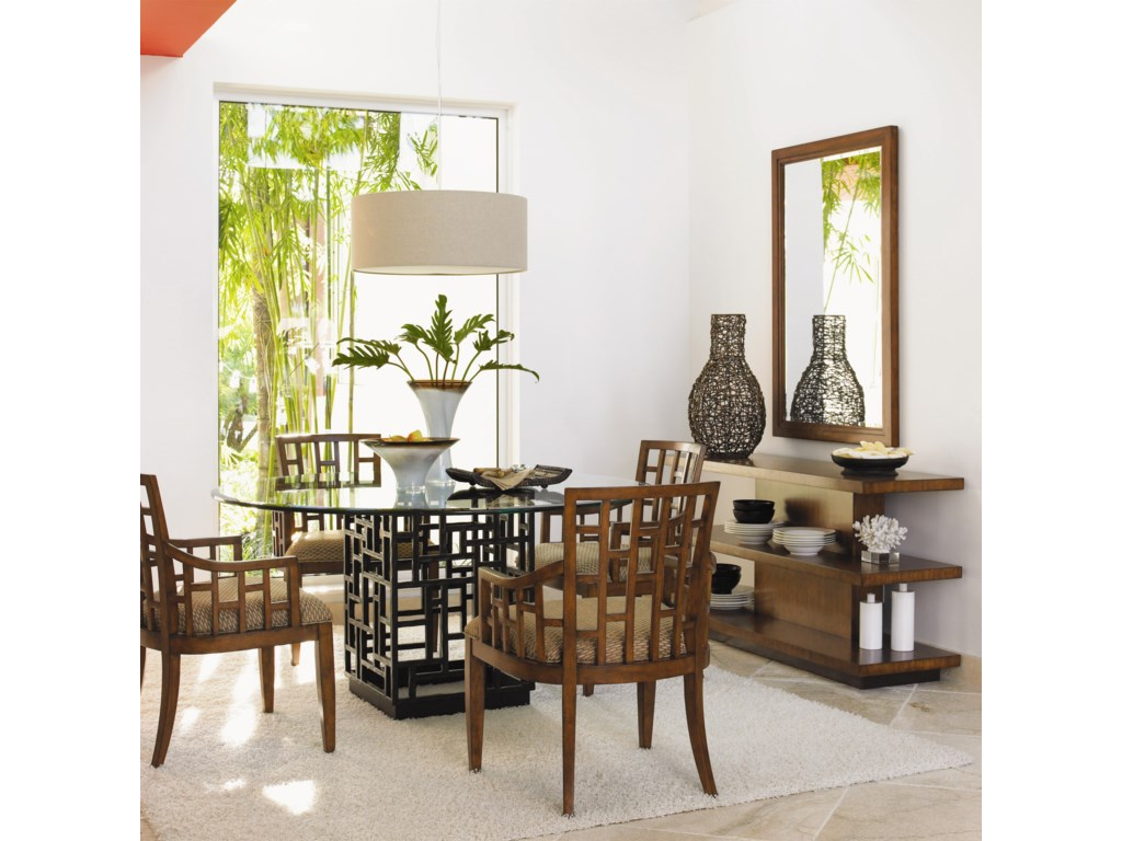 Shown with Lanai Arm Chairs, Lagoon Sofa Table, and Somerset Mirror