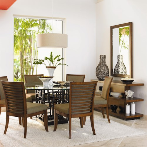 Tommy Bahama Home Ocean Club 7 Piece South Sea Round Glass Top Table & Kowloon Chair Set